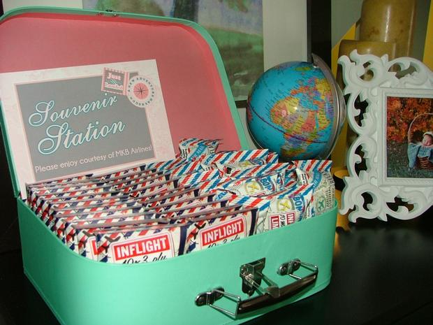 vintage travel themed baby shower - flight and cargo via babyshowerideas4u inflight souvenirs
