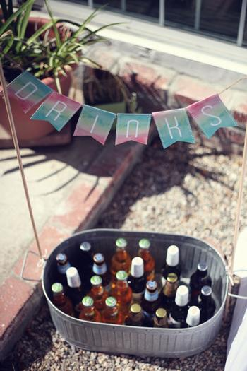 watercolor drinks sign banner