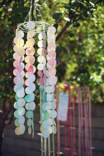 vintage watercolor baby shower via babyshowerideas4u.com watercolor DIY chandelier