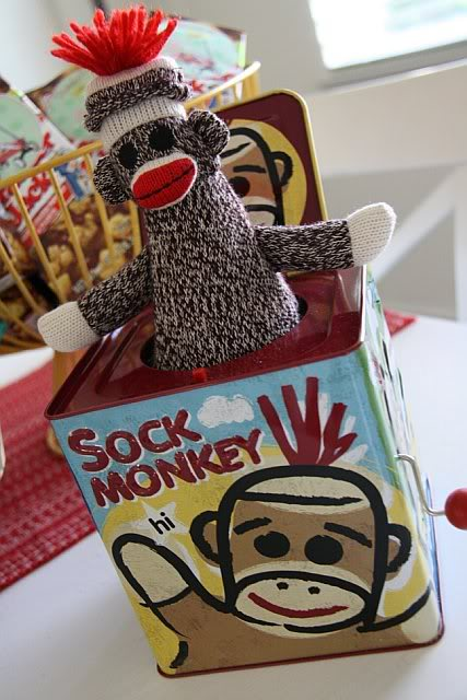 jack in a box with monkey soft toy