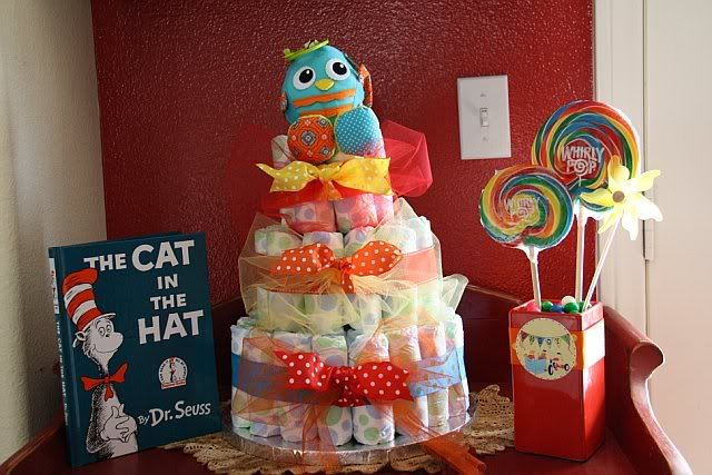 Vintage Toy Themed Baby Shower Diaper Cake and Swirl Lollipops