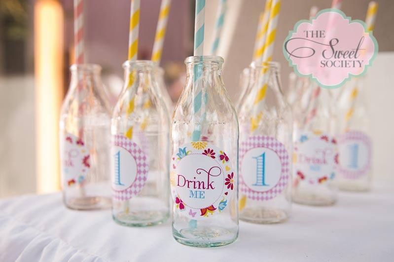 whimsical wonderland garden party via babyshowerideas4u decorated glass drink labels