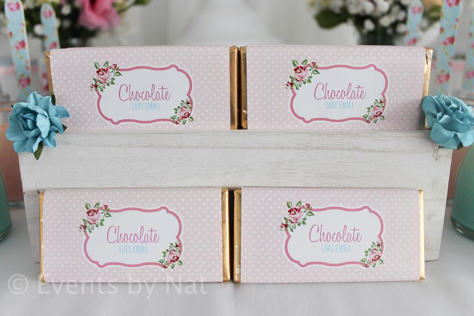 pink vintage rose chocolate wrappers