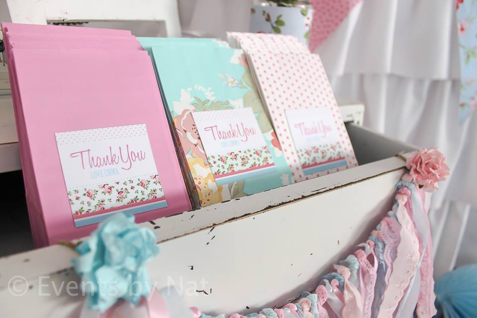 shabby chic thank you bags