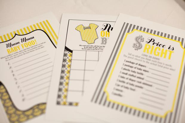 A delightful yellow and gray Little Man themed baby shower 0