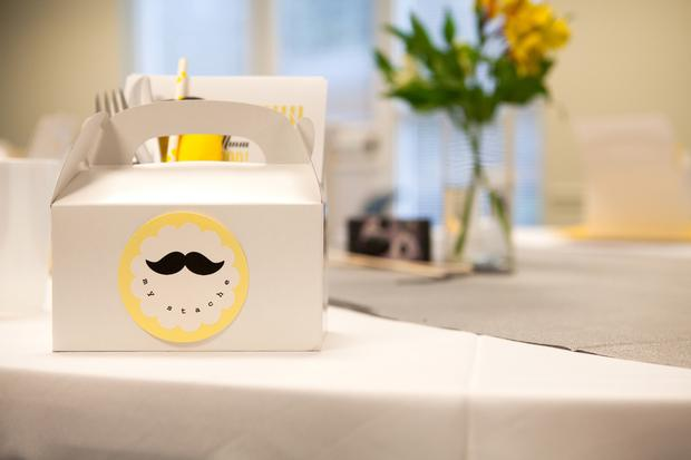 A delightful yellow and gray Little Man themed baby shower 1