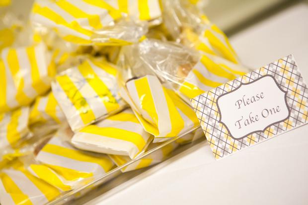 A delightful yellow and gray Little Man themed baby shower 11