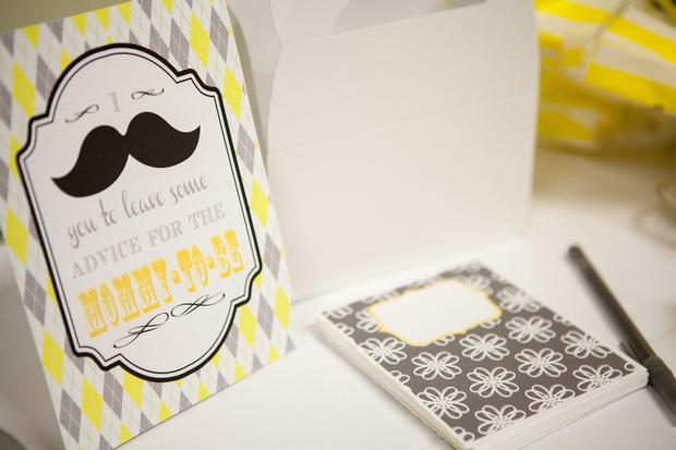 A delightful yellow and gray Little Man themed baby shower 13