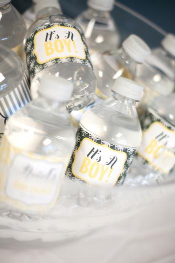 A delightful yellow and gray Little Man themed baby shower 16