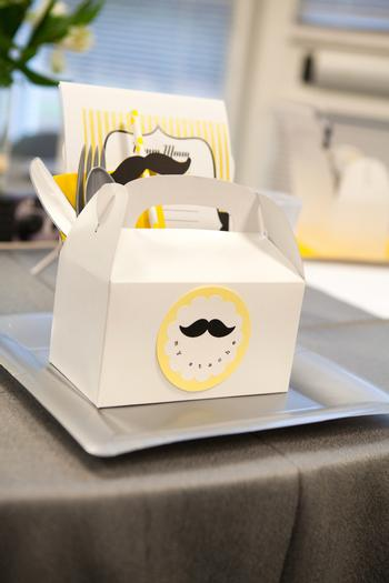 A delightful yellow and gray Little Man themed baby shower 5