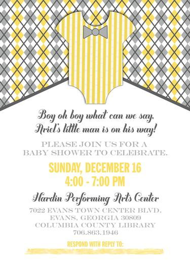 A delightful yellow and gray Little Man themed baby shower by Tiffany