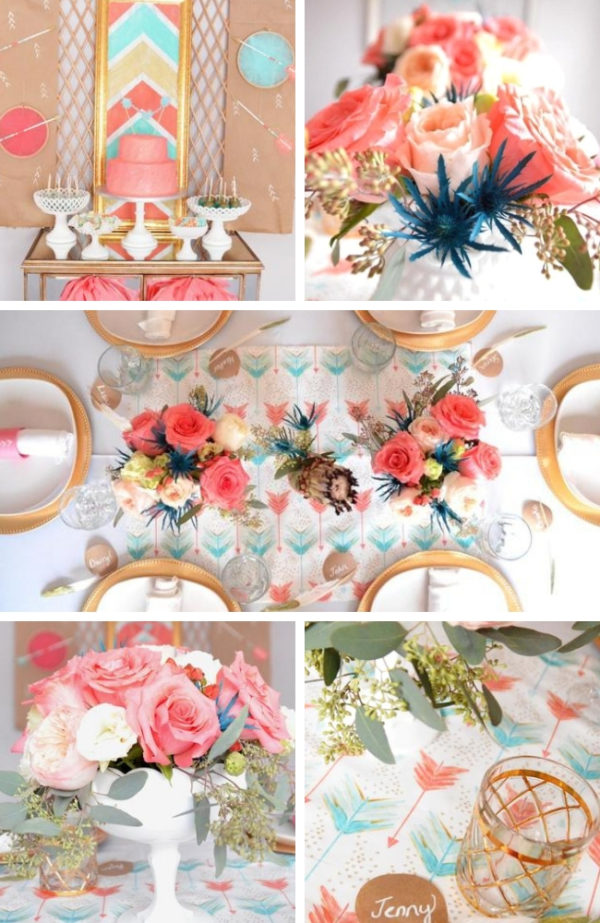 bohemian-bows-arrows-baptism-celebration