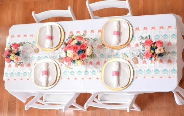 Bohemian, Bows & Arrows Baptism Celebration, great baby shower ideas bird view