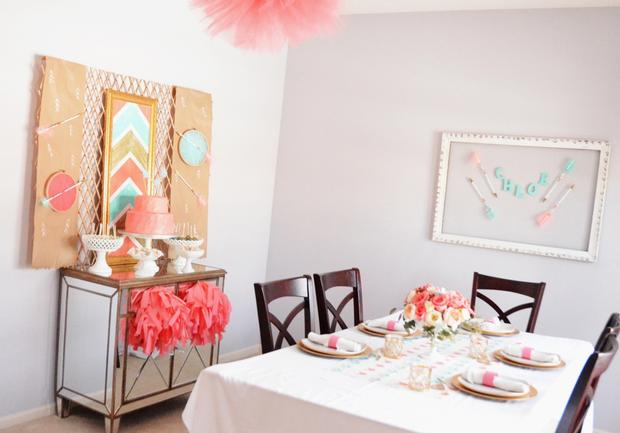 Bohemian, Bows & Arrows Baptism Celebration, great baby shower ideas via babyshowerideas4u room
