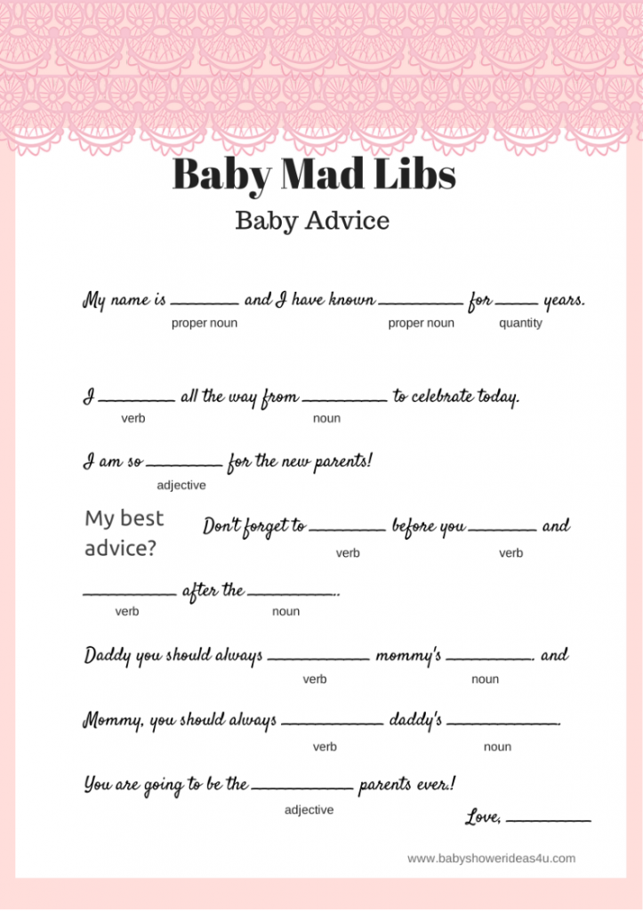 Free printable baby mad libs pink lace