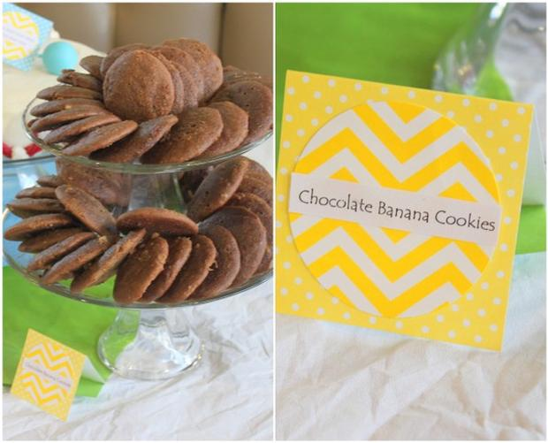 Hand, Hand, Fingers Thumb Book Inspired Party via baby shower ideas and supplies chocolate banana cookies