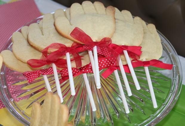 Hand, Hand, Fingers Thumb Book Inspired Party via baby shower ideas and supplies hand cookies