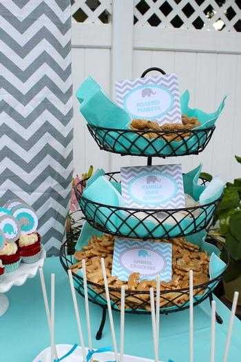 Modern Chevron Elephant Baby Shower dessert tower
