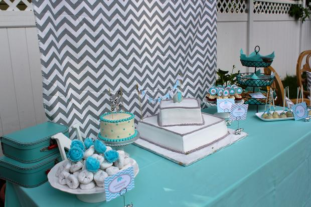 Modern Chevron Elephant Baby Shower mini red velvet cupcakes with elephant toppers dessert table