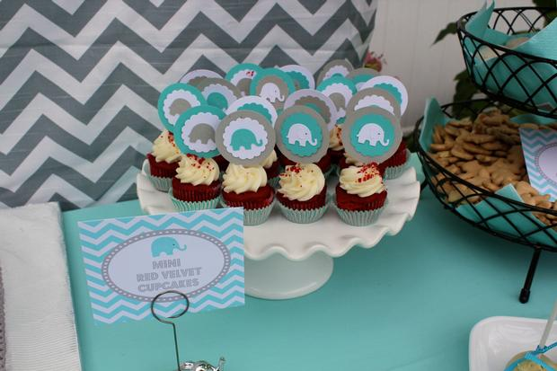 Modern Chevron Elephant Baby Shower mini red velvet cupcakes with elephant toppers