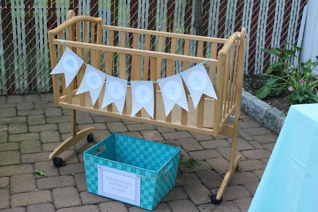Modern Chevron Elephant Baby Shower mommy and daddy to be chairs gift holder