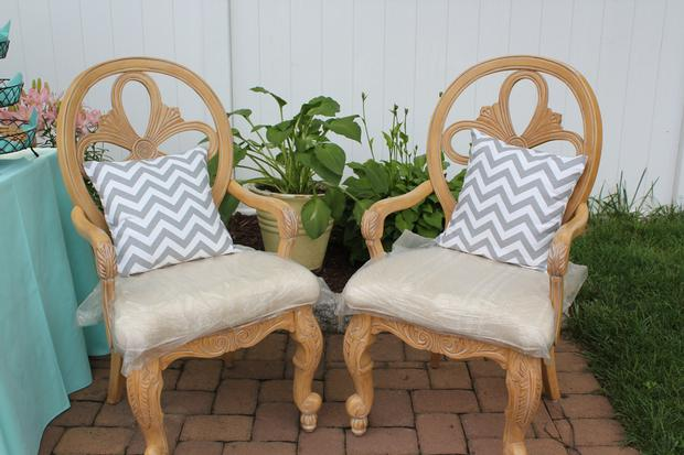 Modern Chevron Elephant Baby Shower mommy and daddy to be chairs