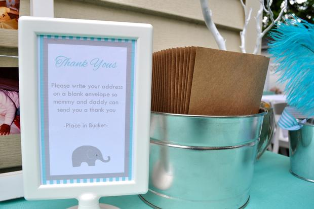 Modern Chevron Elephant Baby Shower powered donut thank you