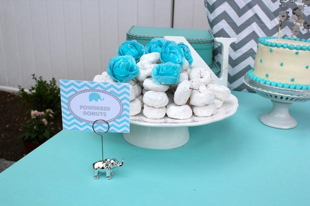 Modern Chevron Elephant Baby Shower powered donut
