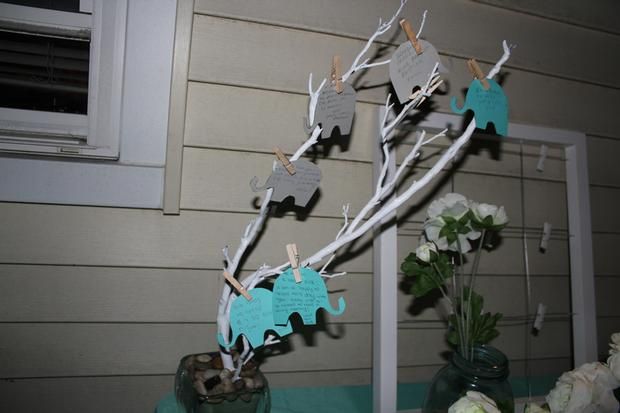 Modern Chevron Elephant Baby Shower wishing tree lovely