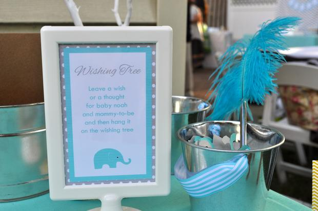 Modern Chevron Elephant Baby Shower wishing tree