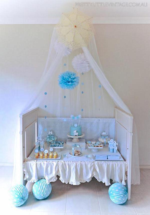 Showered from above Shower Baby Shower theme by Justine via babyshowerideas4u.com beautiful dessert table
