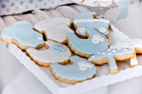 Showered from above Shower Baby Shower theme by Justine via babyshowerideas4u.com - cute baby item cookies 2