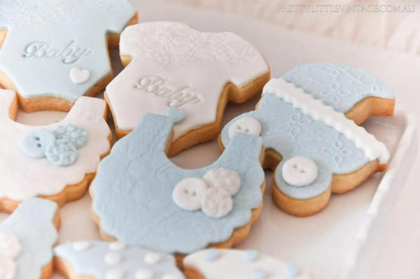 Showered from above Shower Baby Shower theme by Justine via babyshowerideas4u.com - cute baby item cookies
