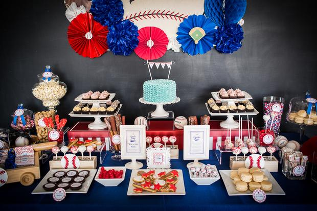 baseball baby shower ideas, blue and red colors dessert table. amazing backdrop