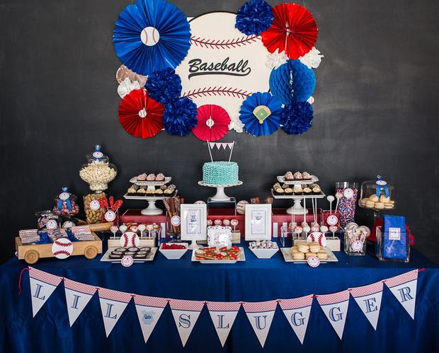 baseball baby shower ideas, blue and red colors dessert table
