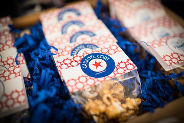 baseball baby shower ideas, blue and red colors. caramel popcorns, peanuts