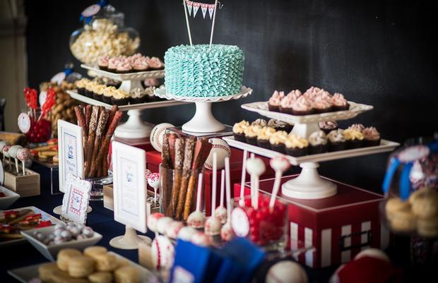 baseball baby shower ideas, blue and red colors. delicious treats