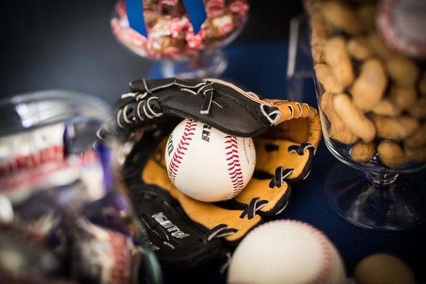 baseball baby shower ideas, blue and red colors. glove and ball