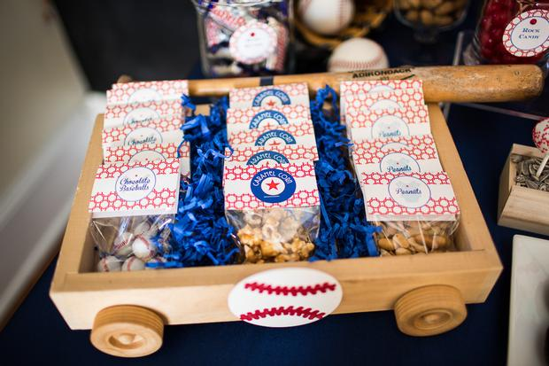 baseball baby shower ideas, blue and red colors. popcorns, peanuts