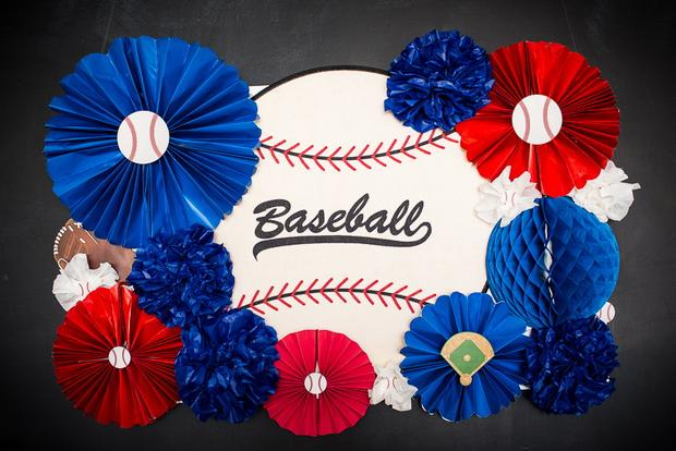 baseball baby shower ideas, blue and red colors