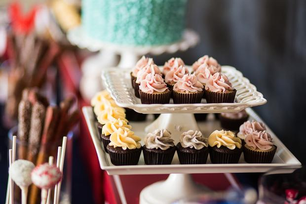 baseball themed baby shower ideas, blue and red colors dessert table