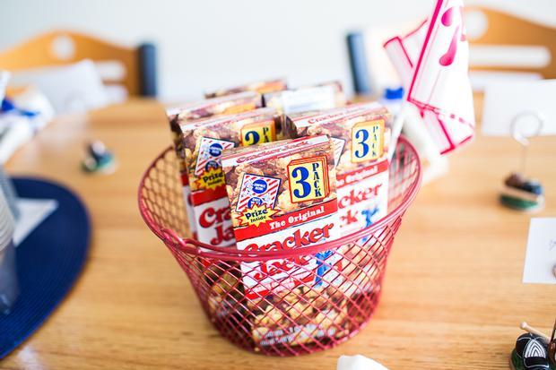 baseball themed baby shower ideas, framed food menu, cracker