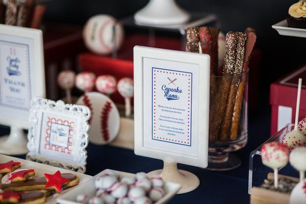 baseball themed baby shower ideas, framed food menu
