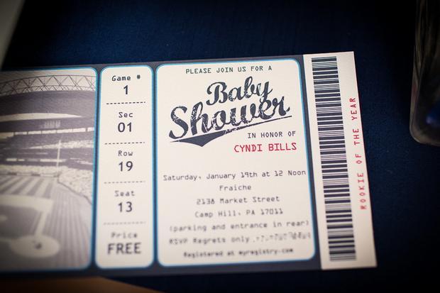 baseball themed baby shower ideas, peanuts, ticket invitatin