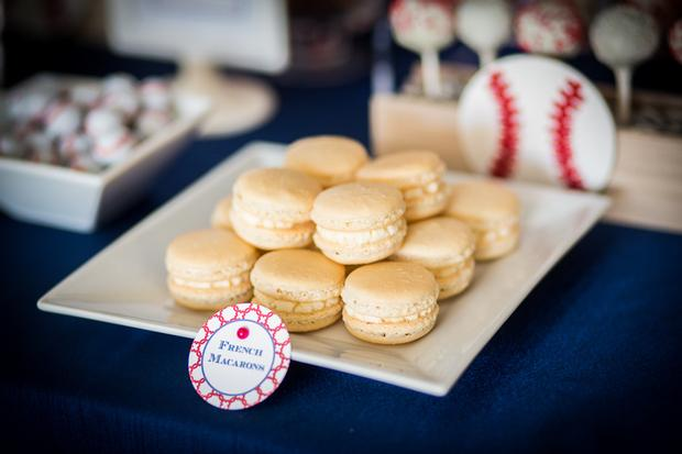 baseball themed baby shower ideas, ruffled cake, amazing baseball cookies, oreo, french macarons