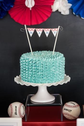 baseball themed baby shower ideas, ruffled cake