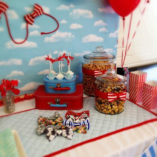 bow tie baby shower ideas, kite baby shower, blue aand red by adriana via babyshowerideas4u, dessert table