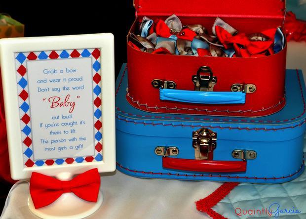bow tie baby shower ideas, kite baby shower, blue aand red by adriana via babyshowerideas4u, glitterly cake pops, suitcase decorations
