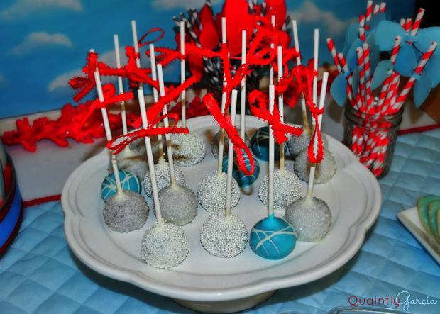 bow tie baby shower ideas, kite baby shower, blue aand red by adriana via babyshowerideas4u, glitterly cake pops