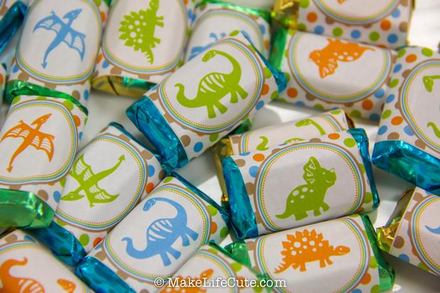 dinosaur themed baby shower candy wrappers
